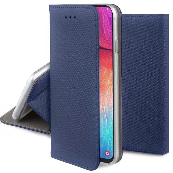 Husa Smart Magnet Tip Carte BLEUMARIN Carbon. Motorola Moto E7 Plus
